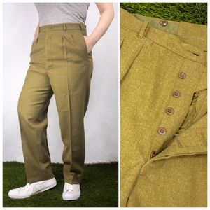 Vintage 1970s Green Army Cadet Button Fly Trousers